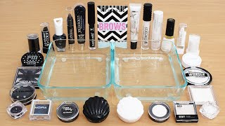 Black vs White - Mixing Makeup Eyeshadow Into Slime ASMR