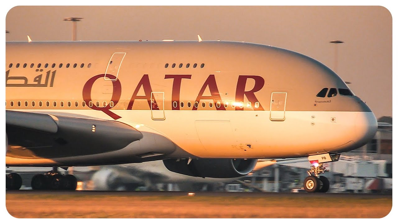 SUNSET Qatar Airbus A380 Landing at Melbourne Airport - [A7-APB]