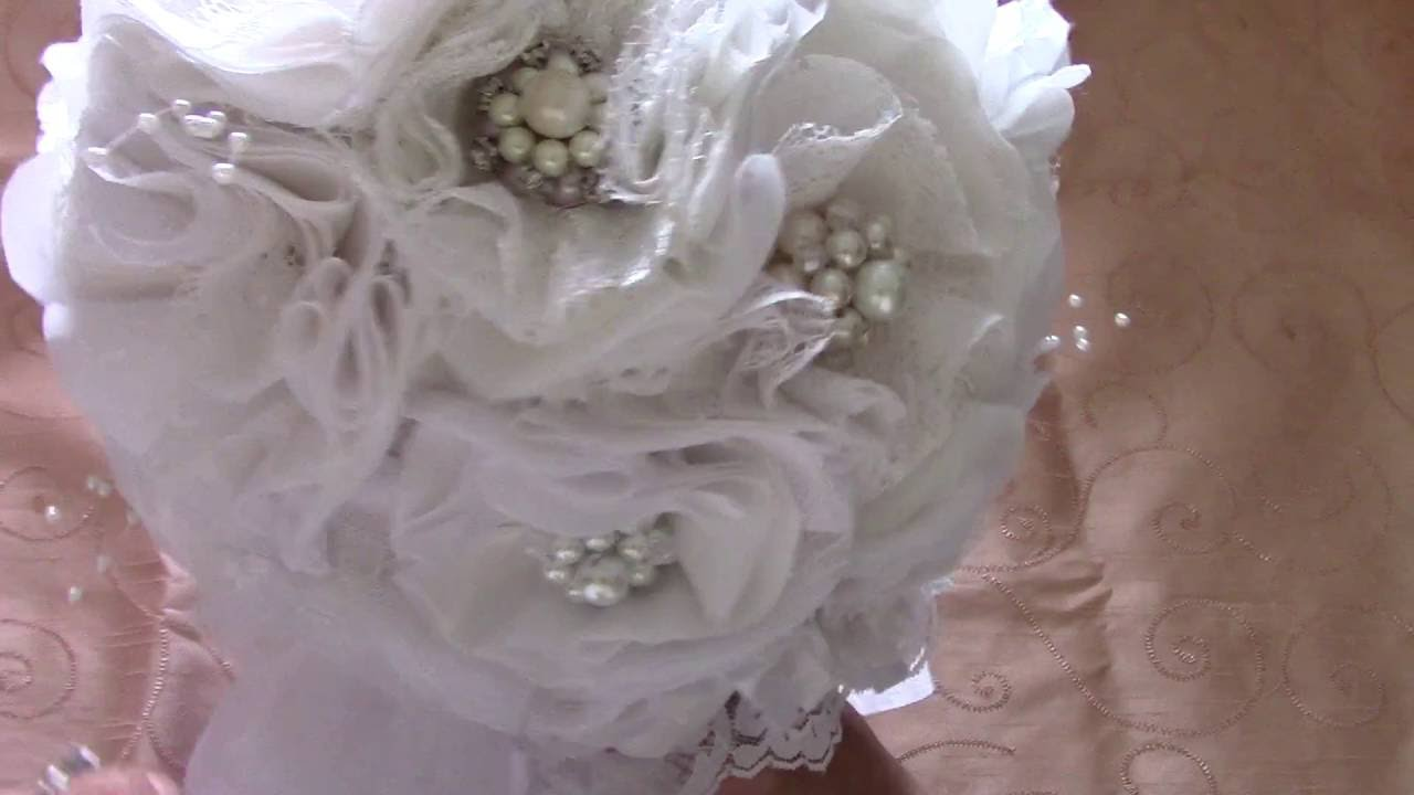 Bridal Bouquethandmade Lace And Fabric Flowers And Handmade