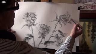 Рисуем розы карандашом. Видеоурок. Быстрая зарисовка