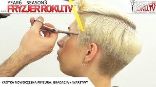 Krótka nowoczesna fryzura. Gradacja + warstwy. FryzjerRoku.tv