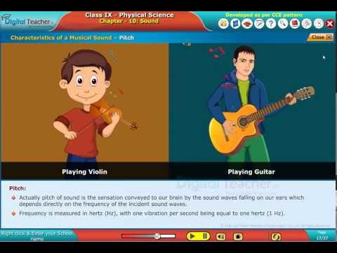 digital Teacher Code and Pixels k12 Physics Class9 Characteristics of Musical sound output