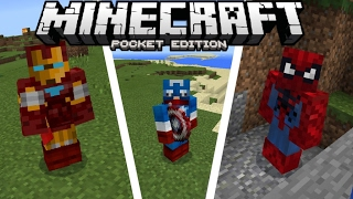 MARVEL SUPERHEROES in MCPE!  (Minecraft PE Mods & Addons)