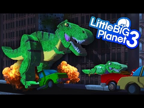 LittleBigPlanet 3 - Jurassic Park - GIANT T-Rex Dinosaur Chases Car In City With Baby Dinosaurs