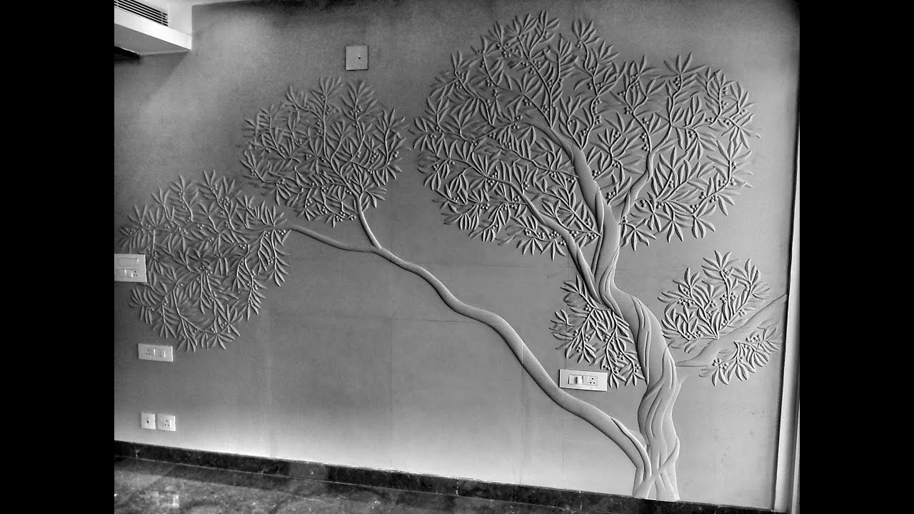 How to design olive tree carving stone design tree mural for Black tree mural