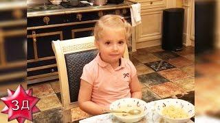 ДЕТИ ПУГАЧЕВОЙ И ГАЛКИНА: Стишок для папы от Лизы! Лиза и Гарри завтракают.