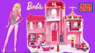 Mega Bloks Barbie Build N Style Luxury Mansion With Barbie Dolls - Life In The Dream House Dollhouse
