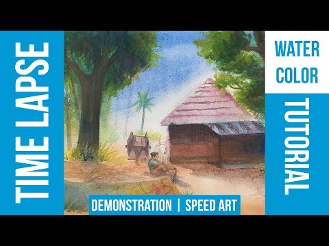 Village House Watercolor Painting Time Lapse HD