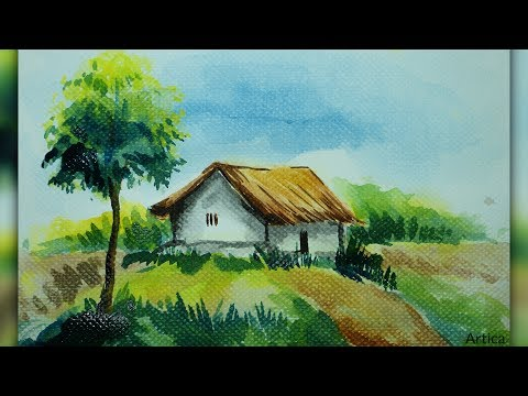 How to Draw Village Landscape in Watercolor | Beginner Tutorial