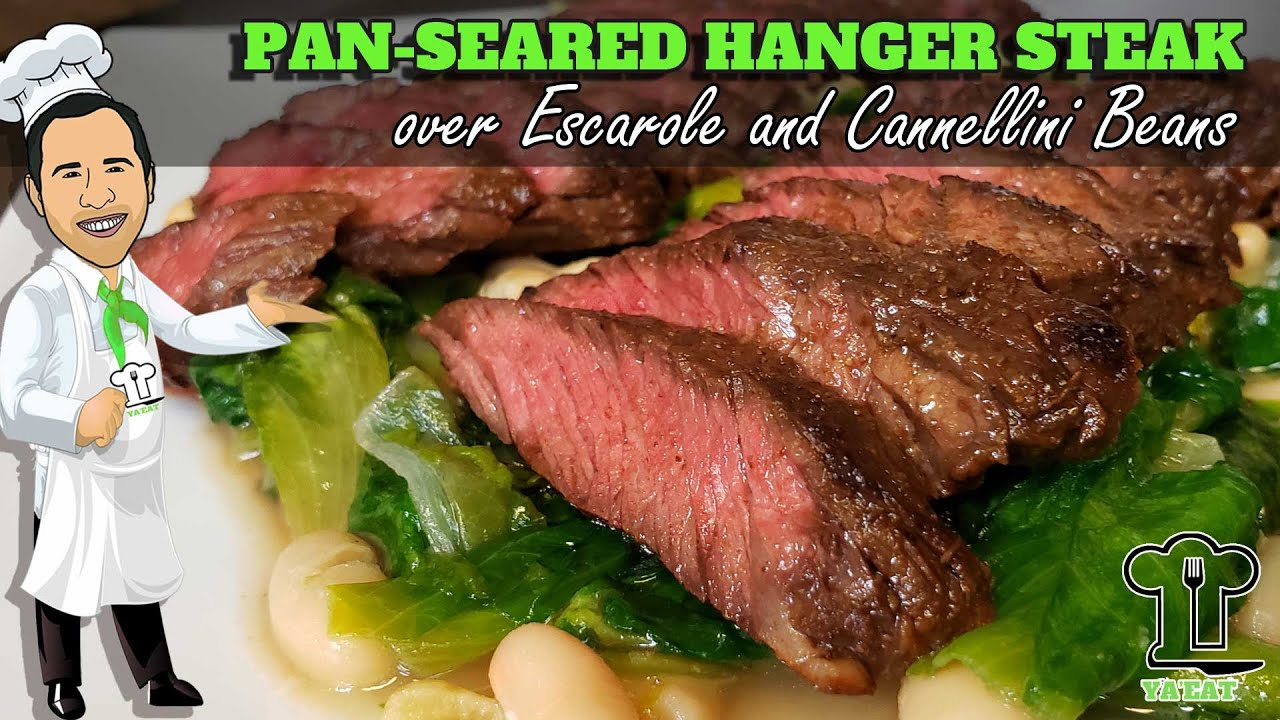 Download Pan-Seared Hanger Steak over Escarole and Cannellini Beans -  Ya'Eat Hanger Steak?