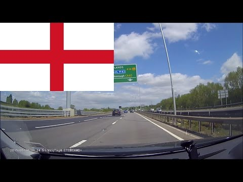 Driving in England --- From Cambridge to Royal Leamington Spa 1 hr 40 min
