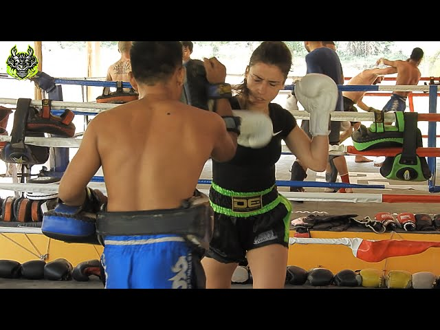 Sarah pads work | Emerald Muay Thai gym