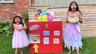 Deema and Sally Pretend Play with Birthday Cake Vending Machine Toy for Kids Story!!