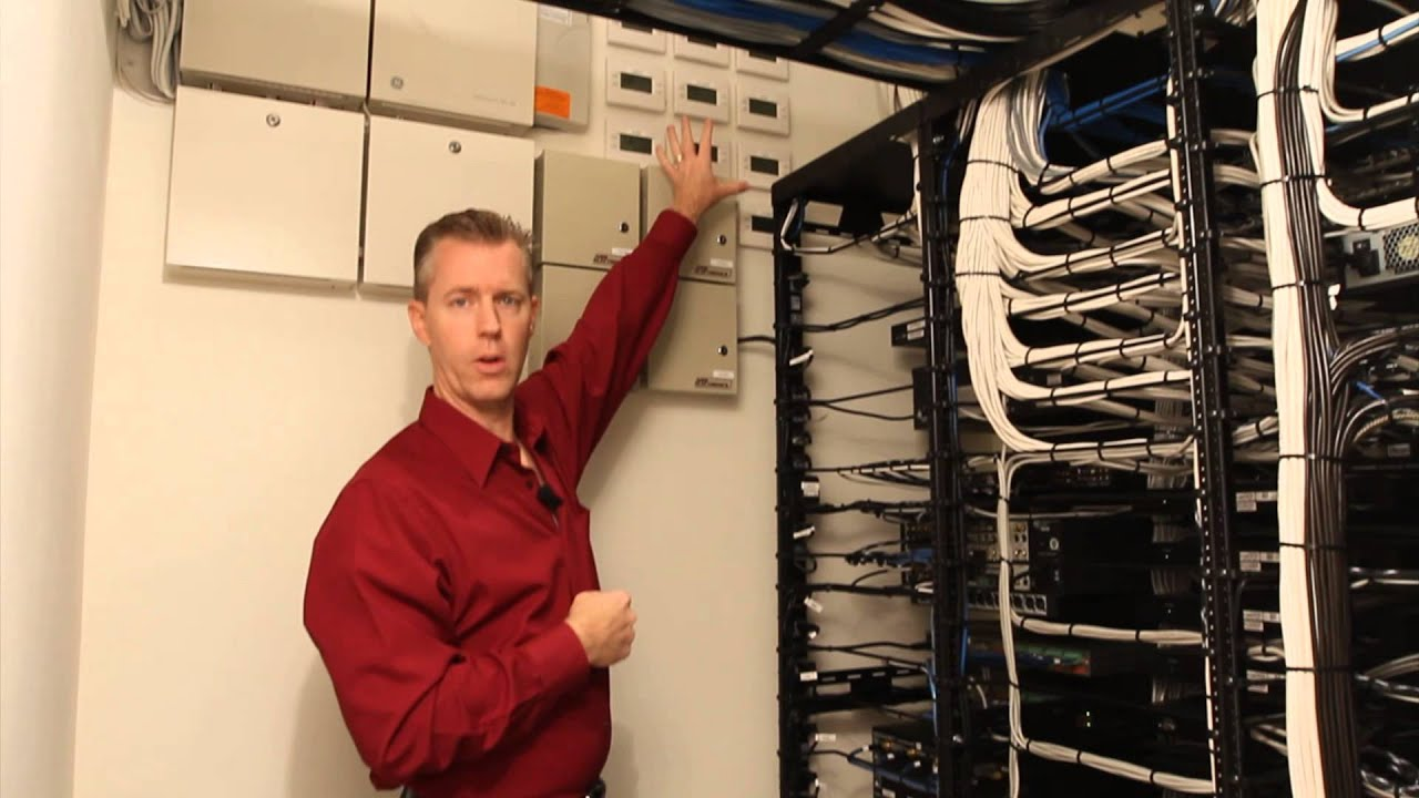 see a meticulous residential equipment rack  wiring