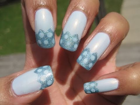 Easter Blue Zig-Zag Dotted French Tip   DIY Nail Art ...