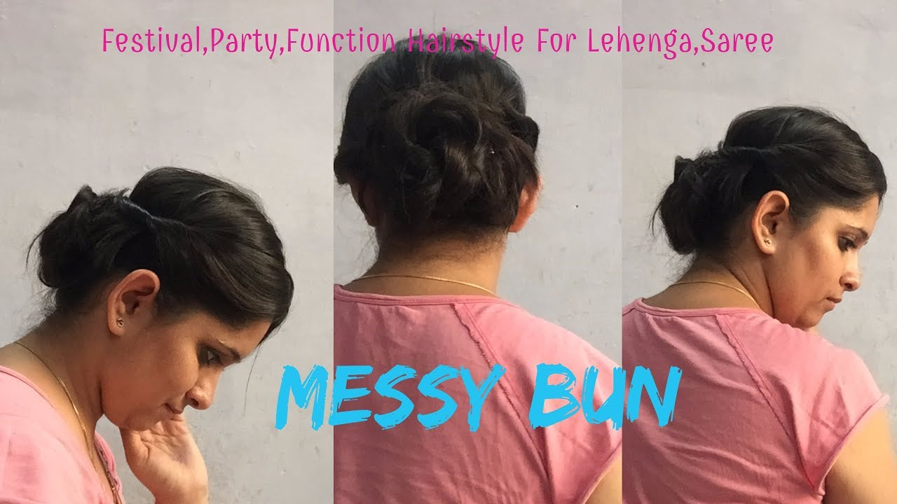 Messy Bun Hairstyle For Partyfunctions For Lehenga Saree Suits