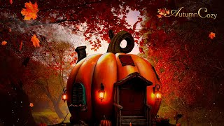 🎃PUMPKIN HOUSE AMBIENCE: Crackling, Crunching, Walking Over Leaves, Chimes