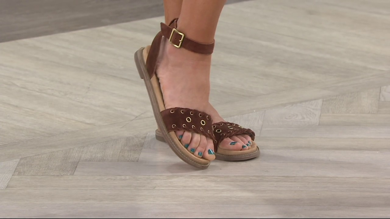 d7b6f11bc Clarks Artisan Suede Ankle Wrap Sandals - Corsio Amelia on QVC - YouTube