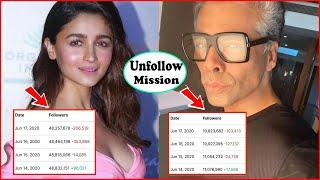 Breaking : Alia Bhatt, Karan Johar LOSE Followers on Instagram and Twitter | Bollywood Nepotism
