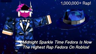 Midnight Sparkle Time Fedora is Now The Highest Rap Fedora On Roblox!