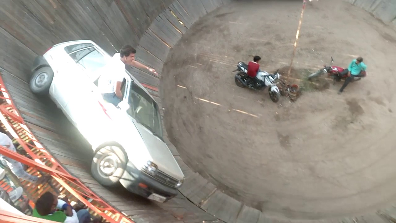 Indian real stunt man driving 4 bikes 2 cars in death well fear factor  incredible India Gorakhpur
