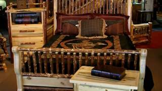 Log Bed In Classic Sleigh Style By Frontier Log Furniture