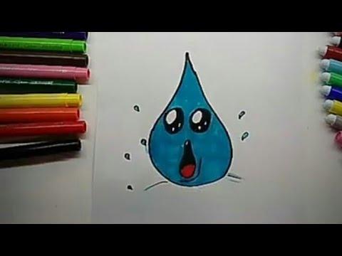 Come Disegnare Una Goccia Dacqua Kawaii Che Cade How To Draw A