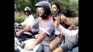 Ms dhoni driving  sport bike again roads 2015