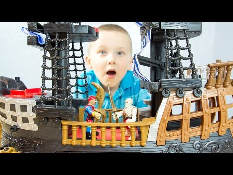Fisher-Price Imaginext Black And Red Pirate Ship With Jake And The Neverland Pirates