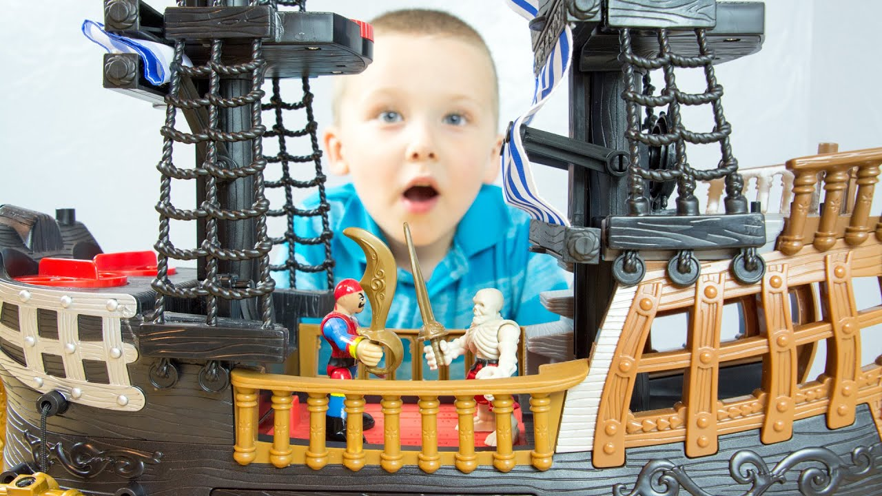 fisher price imaginext black and red pirate ship with jake and the