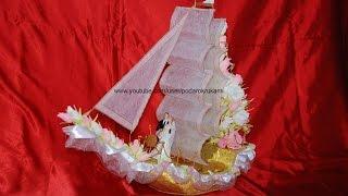 Свадебный корабль из конфет. Мастер-класс. Wedding ship of candy