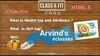 How to use Body and Break Tag in HTML? | CBSE Class X, FIT Lesson-5 | Class 10 HTML