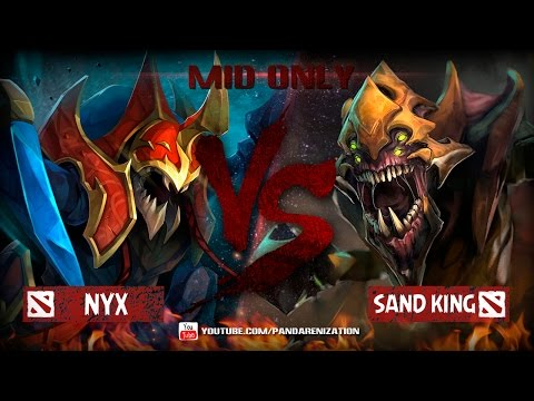 видео: nyx vs sand king [Битва героев мидонли dota2]