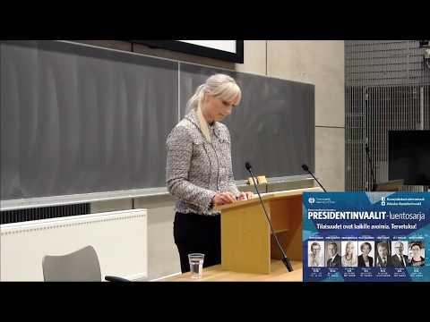 Presidenttiehdokas Laura Huhtasaaren (ps.) luento Suomi takaisin
