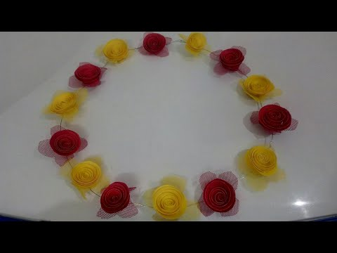 DIY Tiara #4 : Handmade Paper Flowers Tiara making Tutorial | How to make Rose Flowers Tiara