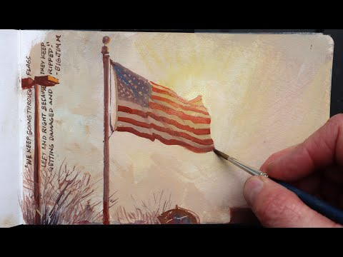 I Paint An American Flag With A Glowing Effect