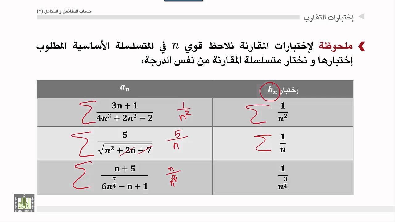 حساب التفاضل والتكامل 3 | الوحدة 3 | اختبار التكامل واختبار المقارنة