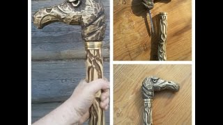 трость с секретом без токарки DIY Eagle Wood Carving