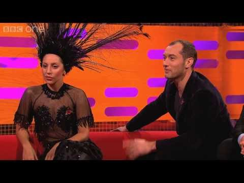 Jude Law tries to avoid getting hit by Lady Gaga's hat - The Graham Norton Show: Episode 5 - BBC One