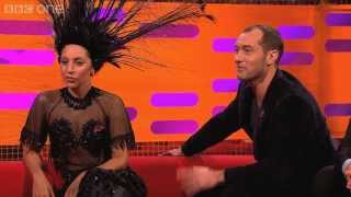 jude law tries to avoid getting hit by lady gaga s hat the graham norton show episode 5 bbc one