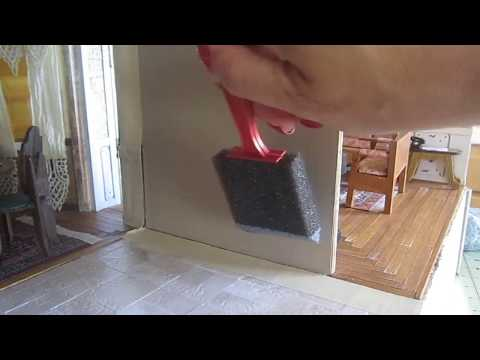 Kitchen wall finish and wood trim   dollhouse one inch scale diy