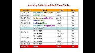 Asia Cup 2018 Schedule & Time Table