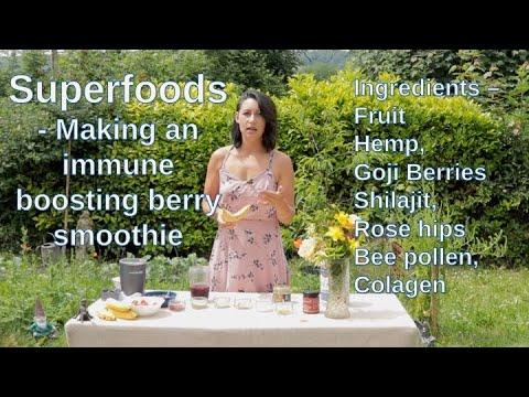 Super foods – Making a fruit smoothie with  maca, hemp seeds, goji berries, bee pollen and shilajit