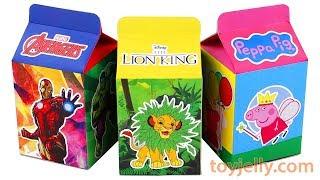 Unboxing Handmade Milk Carton Toys Avengers Disney LionKing PeppaPig Kinder Surprise Eggs for kids