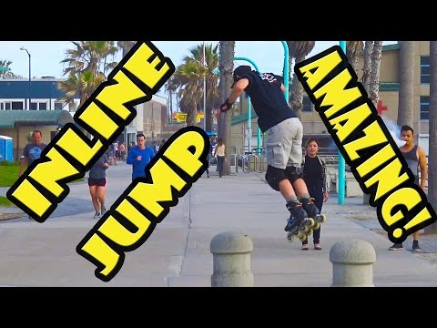 Awesome Inline Skating Jump Stunt Trick at Pacific Beach San Diego
