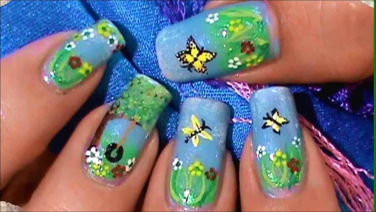 Como pintar un paisaje jardin en sus u as youtube - Pintar con acrilicos paso a paso ...