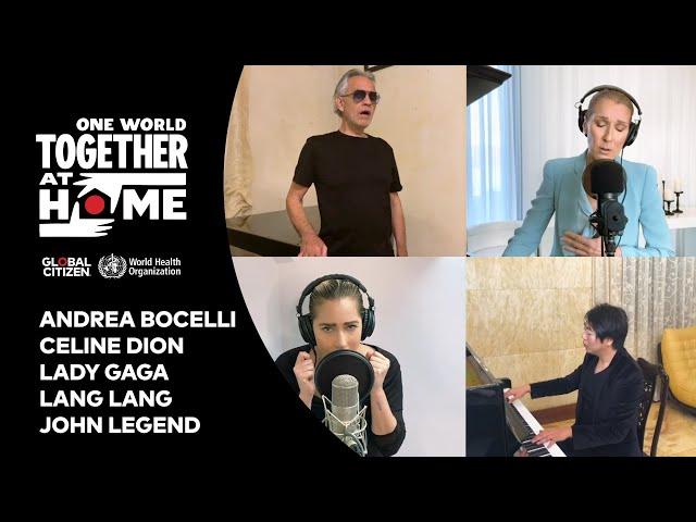 Celine Dion, Andrea Bocelli, Lady Gaga, Lang Lang, John Legend perform
