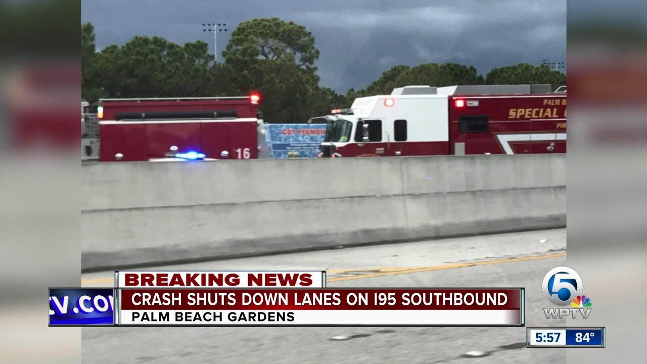 Crash shuts down I-95 SB lanes in Palm Beach Gardens