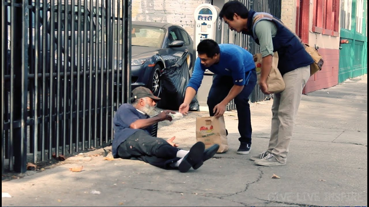 helping the homeless giving out lunch youtube