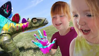 PAiNTiNG PET DiNOSAURS! Dino Training School with Dad is open for Learning! Adley and Niko get an A+